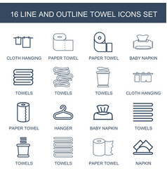16 towel icons vector