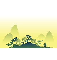Abstract asian Landscape with trees and hills vector image vector image