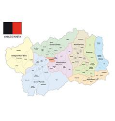 Administrative map aosta valley italy vector