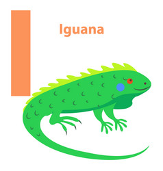 Alphabet for children character i iguana art icon vector