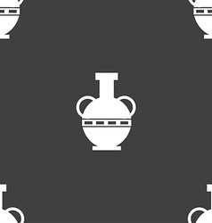 Amphora icon sign Seamless pattern on a gray vector