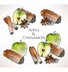 Apple and cinnamon vector