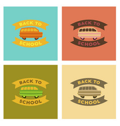 Assembly flat icons back to school bus vector