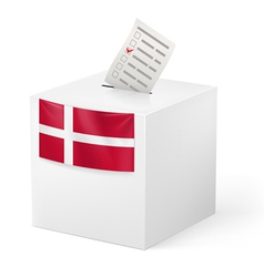 Ballot box with voting paper Denmark vector image