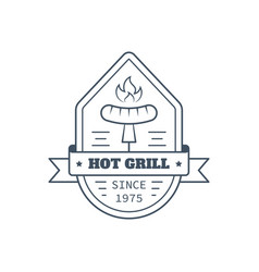 barbecue badge design line art vector image