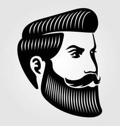 Bearded men hipster face vector