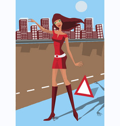 Beautiful girl in red dress catching on the road vector