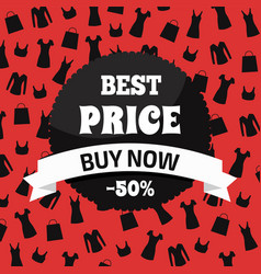 best price buy now red and black promotion card vector image