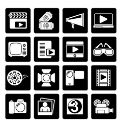 Black Movie and cinema icons vector image