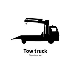 Black silhouette of tow truck vector