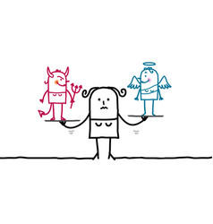 Cartoon woman with devil and angel in balance vector