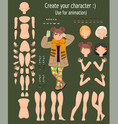 Character design teen girl for animation vector