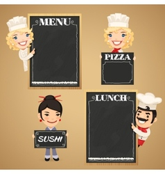 Chefs Cartoon Characters with Chalkboard Menu vector image