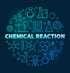 Chemical reaction blue round outline vector