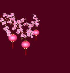 chinese new year sakura and purple lanterns vector image