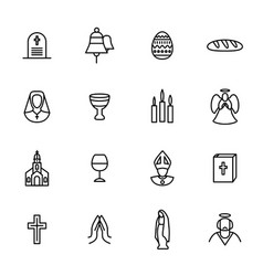 christian signs black thin line icon set vector image