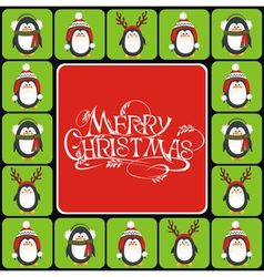 Christmas background with cute penguins vector image