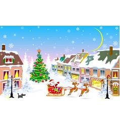 City christmas night santa claus on a sleigh vector