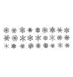 collection doodle snowflakes on white vector image
