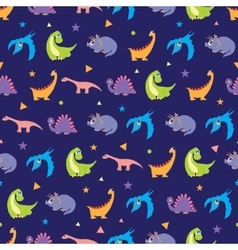 Colorful Dinosaurs Rows Seamless Pattern vector