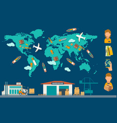 concept logistic process from factory to warehouse vector image