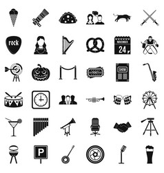 Congregation icons set simple style vector