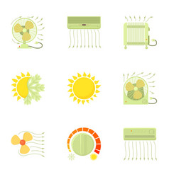 Cooling icons set cartoon style vector