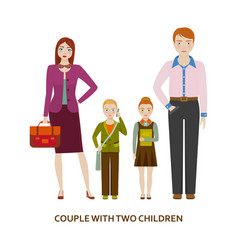 Couple with two children cartoon vector