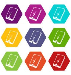 crack screen smartphone icons set 9 vector image