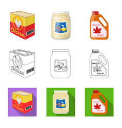 Design of can and food symbol set of can vector