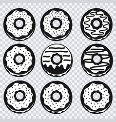 donuts icons with different fillings vector image