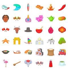 Eastward icons set cartoon style vector