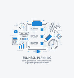 flat line business planning vector image