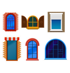 flat windows set wooden plastic modern and old vector image