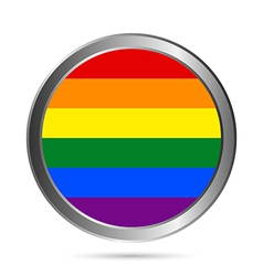 Gay flag metal button vector