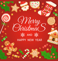 gingerbread background merry christmas and happy vector image