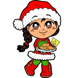 Girl With Cookies For Santa vector