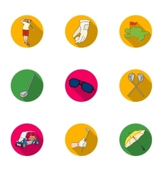 Golf club set icons in flat style Big collection vector
