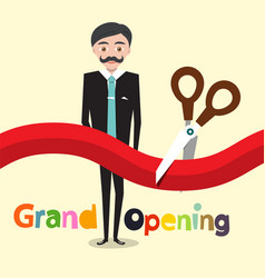 Grand opening flat design cartoon with business vector