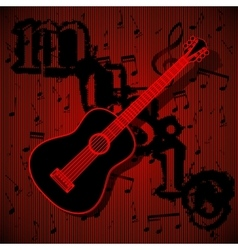 guitar on musical background vector image