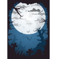 Halloween blue spooky a4 frame border with moon vector