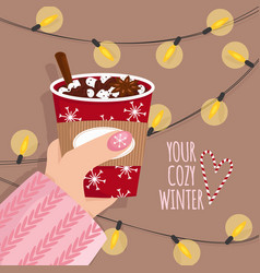 hand with hot chocolate vector image