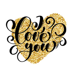 i love you text postcard and gold heart phrase vector image