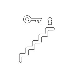 Icon concept keyhole key at top stairs vector