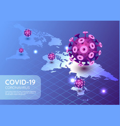 Isometric web banner covid-19 virus vector
