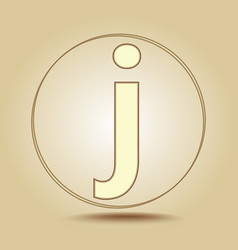 letter j lowercase round golden icon on light vector image