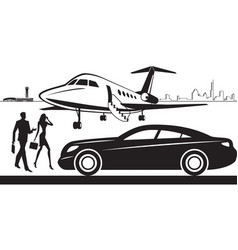 Luxury car service from airport vector