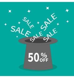 Magic hat 50 percent off Sale background Big sale vector
