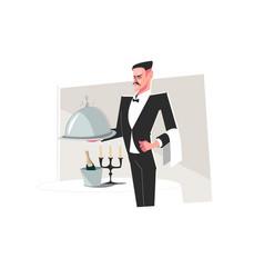 Man butler in suit vector
