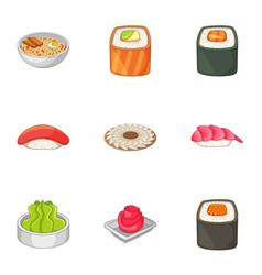 Many asian sushi food icons set cartoon style vector